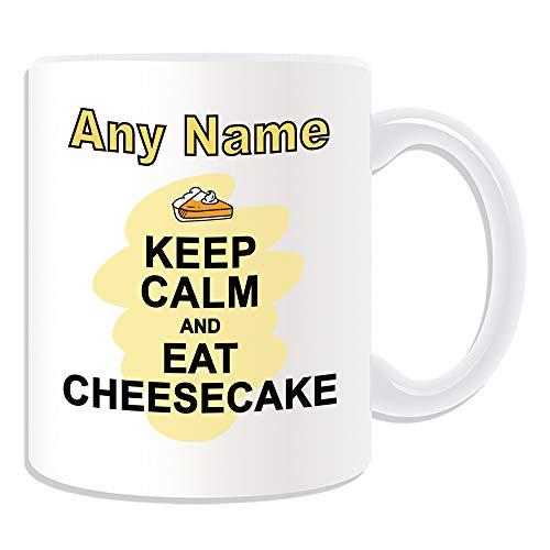UNIGIFT Gepersonaliseerd geschenk - Houd kalm eten Cheesecake Mok (Voedsel Ontwerp Wit) Elke Naam Boodschap Uniek - Carry Poster Party Dieet Snack Chocolade Chips Fruit Cream Veg Pizza