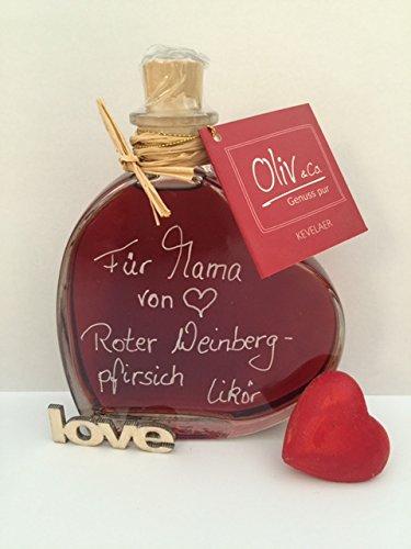 Roter Weinbergpfirsich Likör 0,2l in Herzflasche Geschenkflasche