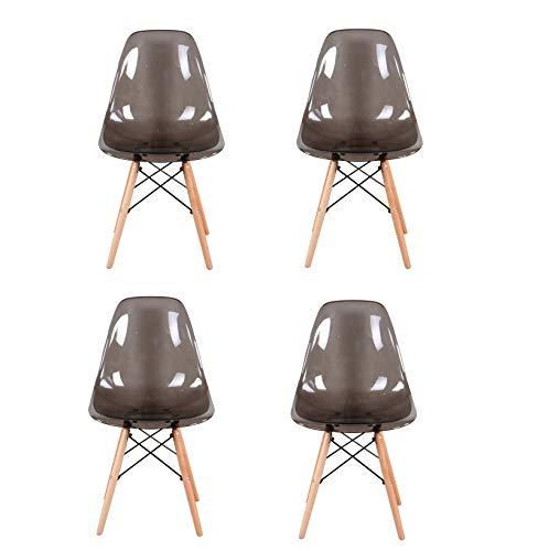 4 sedie a sdraio trasparenti in stile nordico, sedie da pranzo per famiglie, sedie da pranzo in acciaio di plastica, sedie da pranzo da bar, PC di lusso in stile trasparente (grigio)