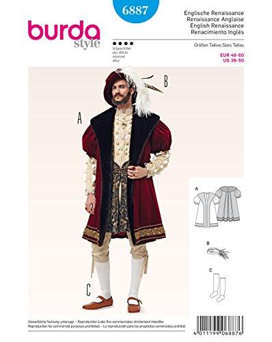 Burda 6887 Historisches Kostüm-Schnittmuster: Mantel, Hut und Strümpfe (Herren, Gr. 46-60) Level 4 fortgeschrittene