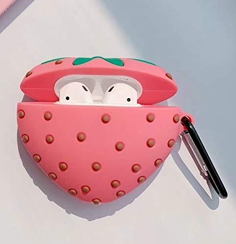 Liujingxue Draadloze Oortelefoon Set, Voor Apple AirPods 1/2 Generatie Universele Sappige Poeder Aardbei Draadloze Bluetooth Hoofdtelefoon Beschermhoes, Schokbestendige Draadloze Oortelefoon Beschermende Cover