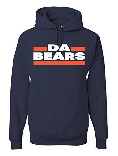 Men's Da Bears Hoodie Athletic Sports Fan Sweatshirt (Navy Blue, Large)