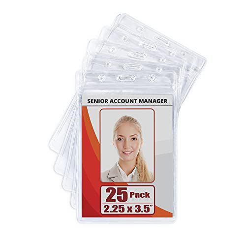 MIFFLIN Plastic Waterproof ID Badge Holders (Clear, 2.25x3.5 Inch, 25 Pack), Vertical Hanging Name Card Holder with Zipper, Resealable Bulk Nametag Holders