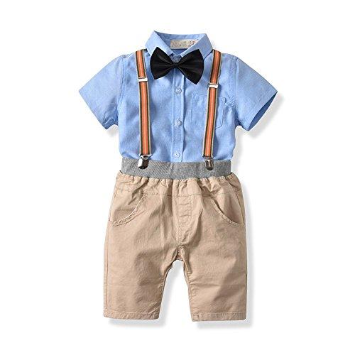 Trésors de Coton été Hommes Cravate Gentleman Strap Shorts Chemise à Manches Courtes Quatre pièces Costume pour Enfants, 130cm