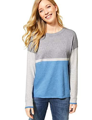 Cecil Damen 301281 Colorblock Pullover, Glacier Blue Melange, Medium