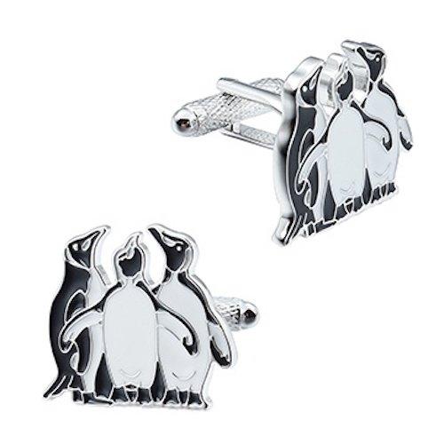 Onyx Art Familie Drei Pinguine schwarz weiß Manschettenknöpfe Geschenk-Box ck1030