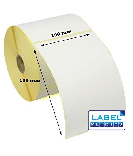 Weiße Thermodirekt-Etiketten, Etikettenmaße 100 x 150mm – Zebra GK420D, GX420D, GK420T – 5 Rollen, 1.250 Etiketten