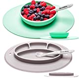 UpwardBaby Suction Toddler Plates and Bowls Set for Babies Silicone Non Slip Baby Feeding Set Kids Placemats with Spoons Included - BPA Free