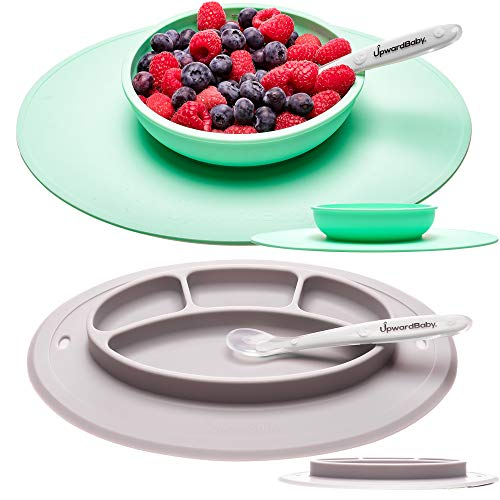 Suction Toddler Plates and Bowls Set for Babies - UpwardBaby Silicone Non Slip Baby Feeding Set Kids Placemats with Spoons Included - BPA Free