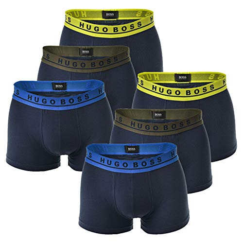 Hugo Boss Herren Boxer Shorts 6er Pack - Boxer Briefs, Stretch - Farbwahl (2X 3-Pack) (986-Blau(Oliv-Gelb), M (Medium) - 6-Pack)