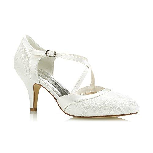 Mrs White 98977-16 Damen Hochzeit Schuhe 7.5cm Hoher Kegelabsatz Spitze Satin Diamant Abschlussball Brautschuhe, 38 EU