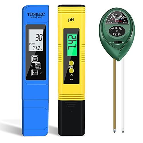 IVSUN pH Messgerät TDS Meter und Bodentester 7 in 1 Set pH Tester Wasserqualität Tester (ATC) für Trinkwasser/Schwimmbad/Aquarium/Labor/Garten