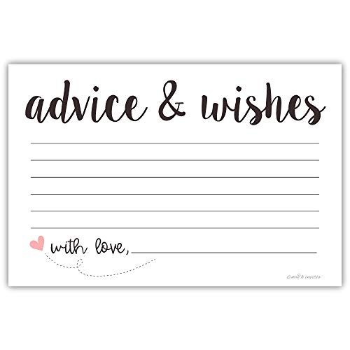 Classic Advice and Wishes Cards (50 Pack) Any Occasion - Bridal Shower, Bride and Groom at Wedding, Baby Shower