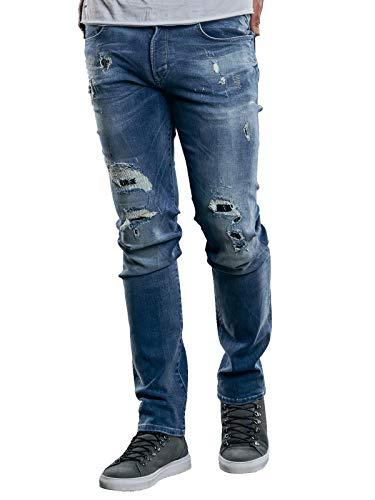 emilio adani Herren Superstretch Jeans mit modischen Destroys, 29273, Blau in Größe 30/32