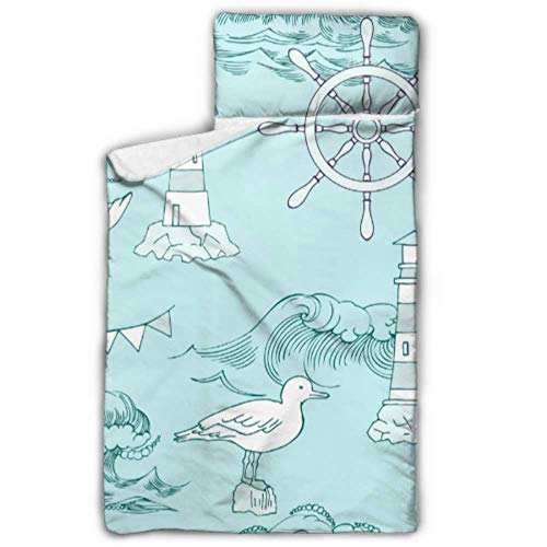 "MBVFD Ships Fish Sun Clouds Sea and Waves Boy Sleeping Bags for Kids Best Nap Mat with Blanket and Pillow Rollup Design Great for Preschool Daycare Sleepovers 50""x20"""