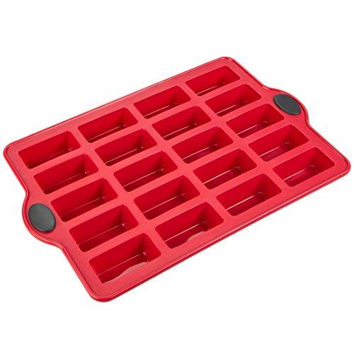 Levivo  Moule à financiers/brownies en silicone pour 20 petits gâteaux, 30 x 22 cm, rouge, 30 cm