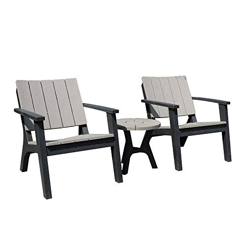 Outsunny 3 Piece Patio Bistro Set Outdoor Garden Furniture Set with 1 Round Table and 2 Armchairs, PP, Grey