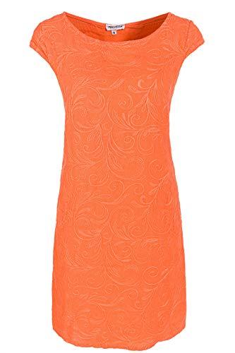 PEKIVESSA Damen Leinenkleid Häkel-Stickerei Sommerkleid Orange 40 (Herstellergröße L)