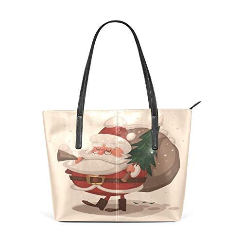 XGBags Custom Borsa a tracolla in pelle PU da donna Womens Purse Santa Claus With Christmas Tree PU Leather Shoulder Tote Bag
