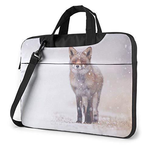 Fox in The Snow, Bolso de Hombro Impreso para computadora portátil, maletín para computadora portátil, Bolso de Mensajero de Negocios