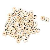 100 piezas de cuentas cuadradas de madera del alfabeto cuentas de madera del alfabeto cuentas de letras de madera de color natural para hacer joyas y manualidades de bricolaje