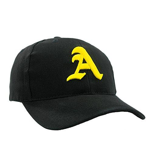 4sold - Gorra de béisbol (algodón 100%), diseño con letra bordada Negro A black yellow Taille unique