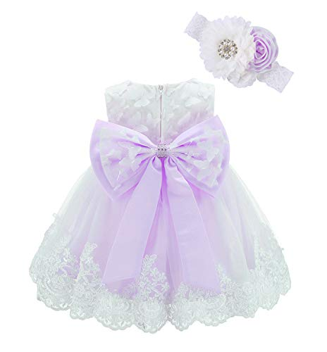 Bow Dream Lace Toddler Girl Dress with Headband Wedding Party Formal Lavender Butterfly 2T