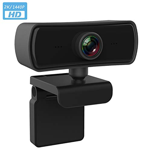 2K Webcam with Microphone, Monitor with Webcam Plug & Play USB Web a Video Camera with Built-in Dual Microphone Webcam for pc Computer,YouTube,Skype etc 2K Video Calling,Studying,Conference
