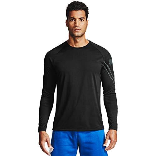 Under Armour Gradient Logo Tech LS, Camiseta de Manga Larga Hombre, Negro (Black/Pitch Gray), XS