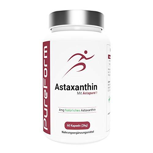 Astaxanthin 4 mg Kapseln mit AstaPure - hochdosiertes Antioxidans - 60 softgel Kapseln - Premium Qualität - Hergestellt aus der Microalge Haematococcus Pluvialis