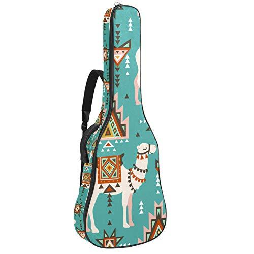 Bolsa para bajo eléctrico bolsa de concierto mochila acolchada funda de guitarra suave impermeable y a prueba de golpes Camello bohemio 42.9x16.9x4.7 in