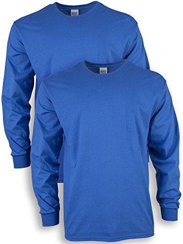 Gildan Men's Ultra Cotton Long Sleeve T-Shirt, Style G2400, 2-Pack, Royal, X-Large