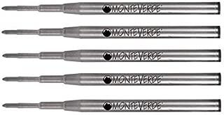 5 pack - Monteverde Ballpoint Pen Refill to Fit Montblanc Twist-Action Ballpoint Pens, Soft Roll (Bulk Packed) (Medium, Black)