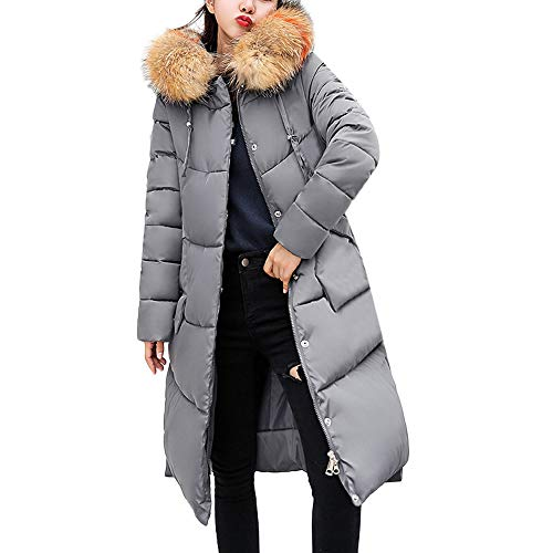 Vrouwen Winter Warm Lange Overjas Gewatteerde Parka Dames Faux Bont Hooded Dik Warm Slim Jas Casual Jas met Pocket Size 10-18