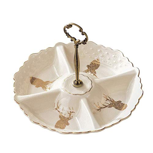 YUTRD ZCJUX Tazón de cerámica Vajilla, Creativa Beige cerámica de la Fruta Placa Postre casa Dried Fruit Plate