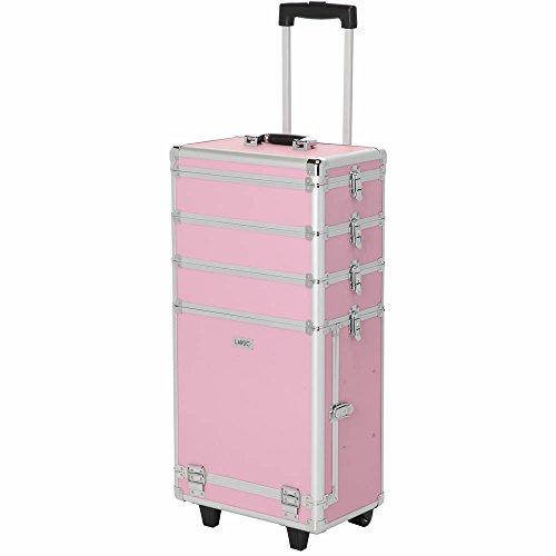 LaRoc - Trolley professionale per trucchi, grande, colore: Rosa