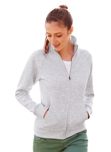 Fruit of the Loom - Lady-Fit Sweat Jacket - Modell 2013 / Heather Grey, S S,Heather Grey