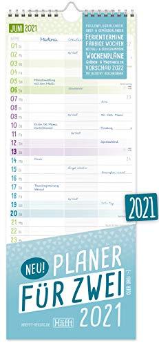 Planer für Zwei 2021 Paarkalender mit 3 Spalten | Wandkalender für 12 Monate: Jan - Dez 2021 | Paarplaner Wandplaner, Chäff-Timer inkl. Ferientermine | nachhaltig & klimaneutral