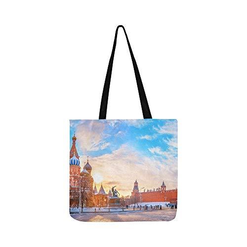 View Kremlin Cattedrale di San Basilio Rosso Stock Foto Tela Tote Borsa a Tracolla Borse Borse a Tracolla per Uomini e Donne Shopping Tote