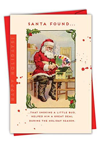 Santa's Little Bud - Adult Funny Merry Christmas Card with Envelope (4.63 x 6.75 Inch) - Humorous Smoking, Weed Xmas Season's Greetings Note Card - Retro High Santa, Happy Holidays C6724XSG