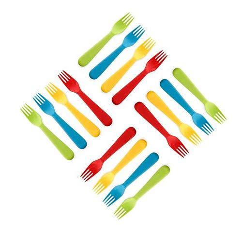 Plaskidy Plastic Kids Forks - Set of 16 Toddler Forks BPA Free/Dishwasher Safe Kids Utensils Set Brightly Colored Kid Forks Flatware Set Great for Kids and Toddlers Fork