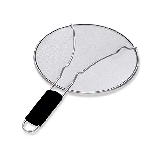 Grease Splatter Screen for Frying Pan, 9.5 Inch Splatter Guard for Cooking, Stainless Steel Fine Mesh - Stops Almost 100% of Hot Oil Splash, Silicone Handle- Protects Skin from Burns