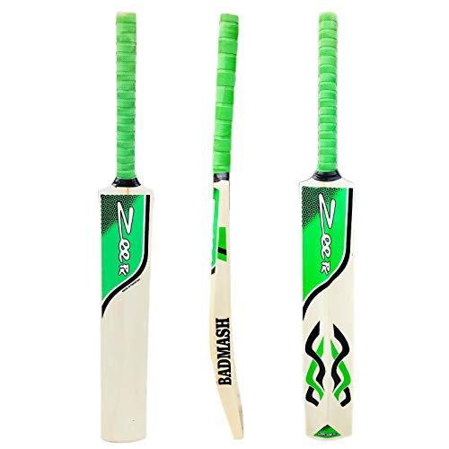 Zeepk Cricket Bat Play Like The Pros Adult Size, Cricket Tennis Ball Bat Handcrafted Kashmir Willow with Durable Comfortable Rubber Grip Short Handle Thick Edge Blade 44mm Light Weight 2lbs (Green)