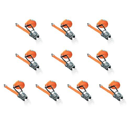 10 Stück Dolezych Ratschenzurrgurt 2500 daN / 5000 daN, 2-teilig, 8,00 m Länge, Profilhaken mit Sicherung, orange