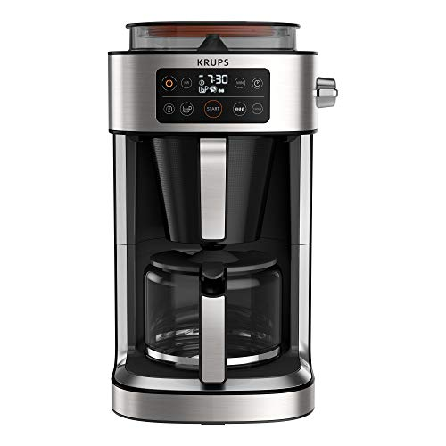 Krups KM760D Aroma Partner Filterkaffeemaschine | herausnehmbare, luftdichte Kaffee-Vorratsbox | präzise Kaffee-Portionierung mit Dosierhebel | für 2-10 Tassen | 1,25 Liter Kapazität | schwarz/silber