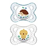 MAM Clear Collection Pacifiers (2 pack, 1 Sterilizing Pacifier Case), MAM Pacifier 0-6 Months, Baby Pacifiers, Baby Girl, Best Pacifier for Breastfed Babies, Designs May Vary
