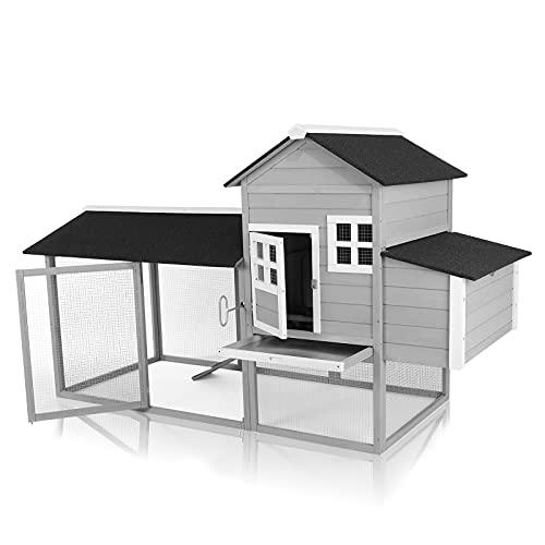 Pirecart 84'' Chicken Coop, Large Wooden Hen House,...