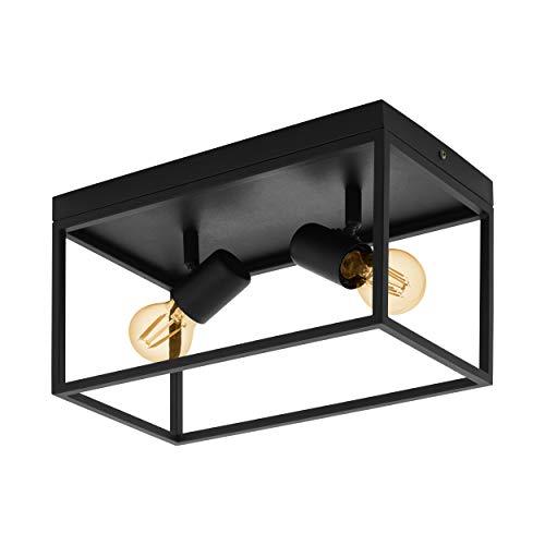 EGLO Deckenlampe Silentina, 2 flammige Deckenleuchte Modern, Industrial aus Stahl, Wohnzimmerlampe in schwarz, Küchenlampe, Flurlampe Decke mit E27 Fassung
