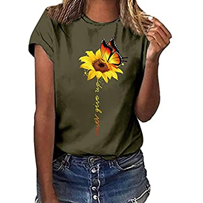 TOTOD Women Cute Sunflower T Shirts Summer Funny Floral Short Sleeve Graphic Cotton Tees Tops