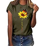 UOFOCO Graphic T-Shirts for Women Plus Size Butterfly Sunflower Printed Short Sleeve Blouse Tops - Never GIVE UP